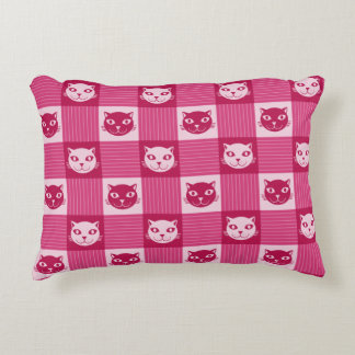 Cat Face Pink Gingham Pattern Cute Accent Pillow