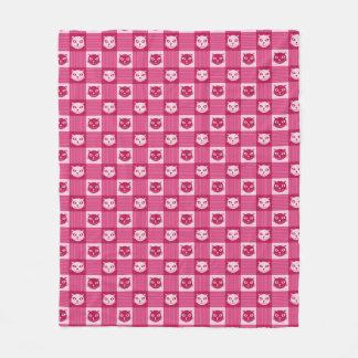Cat Face Pink Gingham Pattern Cute Fleece Blanket