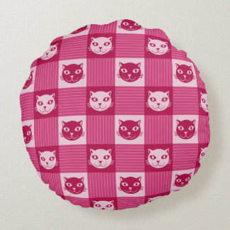 Cat Face Pink Gingham Pattern Cute Round Pillow