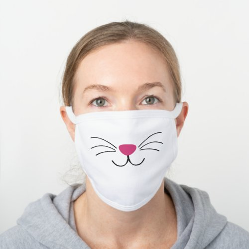 Cat face pink nose black whiskers fun animal white cotton face mask