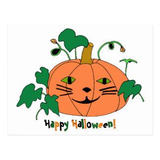 Cat Face Pumpkin Happy Halloween Postcards
