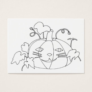 Cat Face Pumpking Drawing Coloring Business Cards