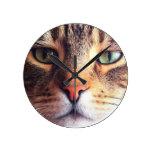 Cat Face Round Clock