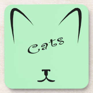 cat face silhouette drink coaster