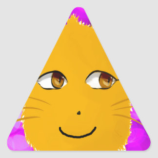 Cat Face Triangle Sticker