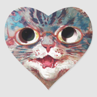Cat Face - Vintage Artist Drawn Heart Sticker