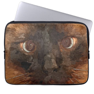 Cat Face (Watercolor Paint) Laptop Sleeve