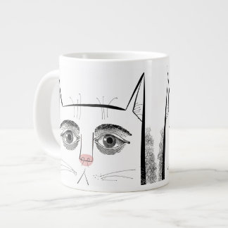 Cat face with eyes and pink nose large coffee mug