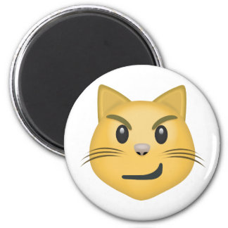 Cat Face With Wry Smile Emoji 2 Inch Round Magnet