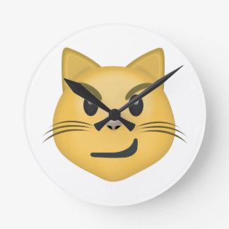 Cat Face With Wry Smile Emoji Round Clock