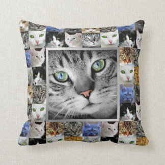 Cat Faces Collage Photo Template Throw Pillows