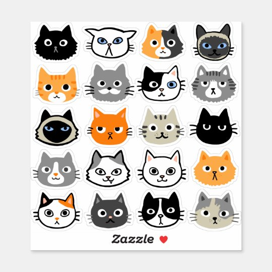 Cat Faces Cute Funny And Annoyed Cats Sticker Zazzle Com