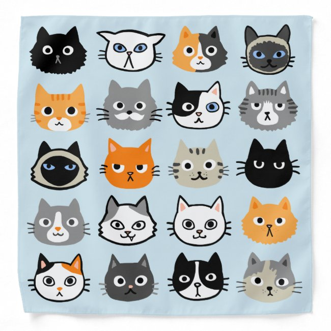 Cat Faces Pattern | Cool Kitty Cat Lover's Blue Bandana