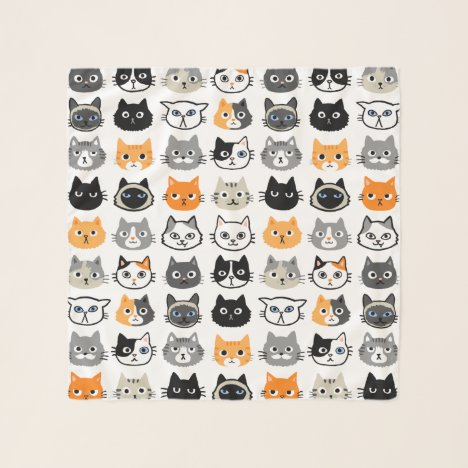 Cat Faces Pattern   Cool Kitty Cat Lover's Scarf