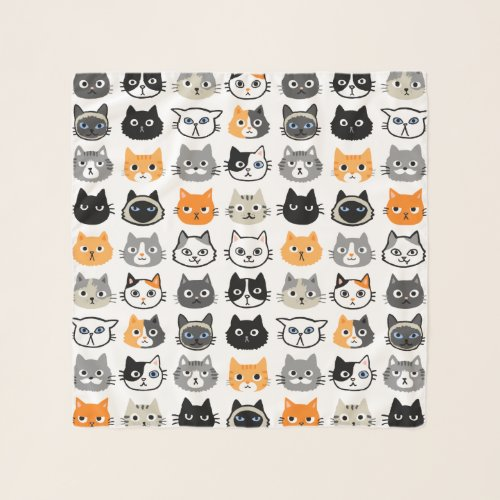 Cat Faces Pattern | Cool Kitty Cat Lover's Scarf