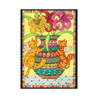 Cat Fairies with Ornate Vase of Lilies Canvas Print