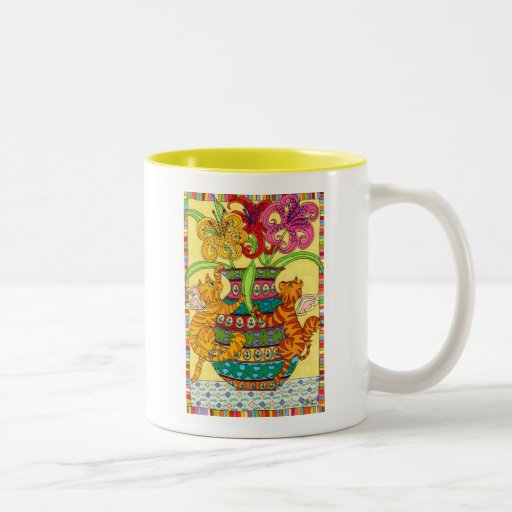 Cat Fairies with Ornate Vase of Lilies Two-Tone Coffee Mug