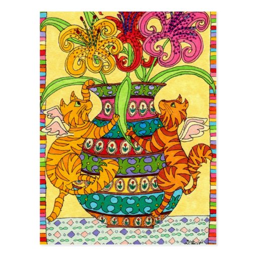 Cat Fairies with Ornate Vase of Lilies Postcard