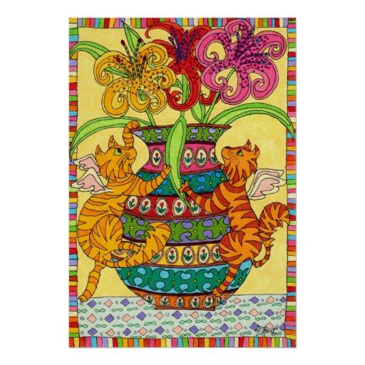 Cat Fairies with Ornate Vase of Lilies Poster