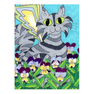 Cat Fairy with Pansies Postcard