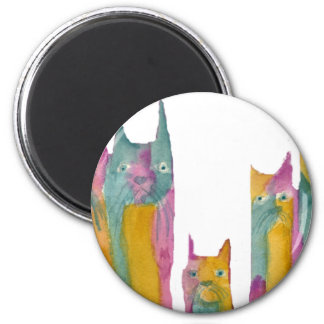 Cat Family 2 Inch Round Magnet