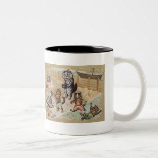 Cat Family At the Beach Two-Tone Coffee Mug