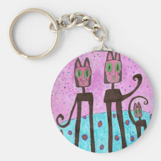 Cat Family  - Autism Basic Round Button Keychain