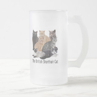 Cat Family British Shorthair Frosted Glass Beer Mug