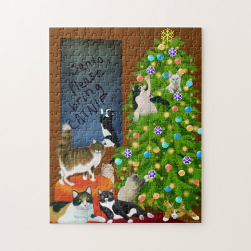 Cat Family Christmas Puzzle