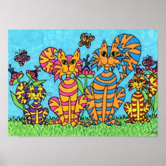 Cat Family Folk Art Poster