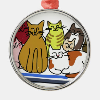 Cat Family Metal Ornament