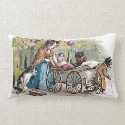 Cat Family Outing Throw Pillows