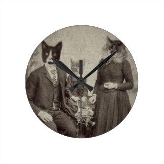 Cat Family Picnic clock