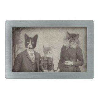Cat Family Picnic rectangle belt buckle