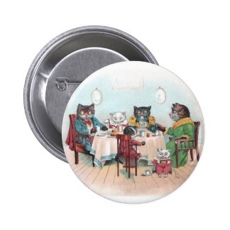 Cat Family Sits Down to Breakfast 2 Inch Round Button