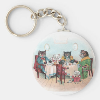 Cat Family Sits Down to Breakfast Basic Round Button Keychain