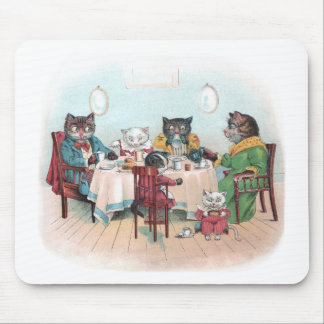 Cat Family Sits Down to Breakfast Mouse Pad
