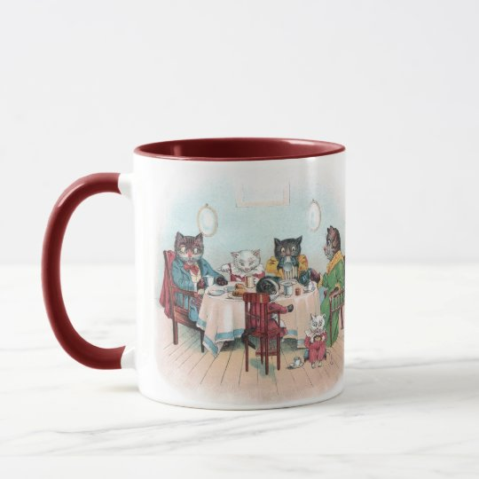 Cat Family Sits Down to Breakfast Mug