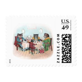 Cat Family Sits Down to Breakfast Postage Stamp