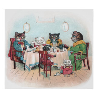 Cat Family Sits Down to Breakfast Poster