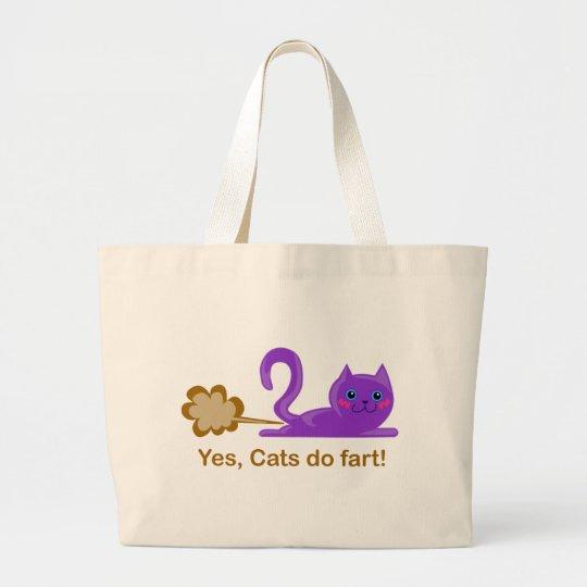 Cat fart - farting cat large tote bag