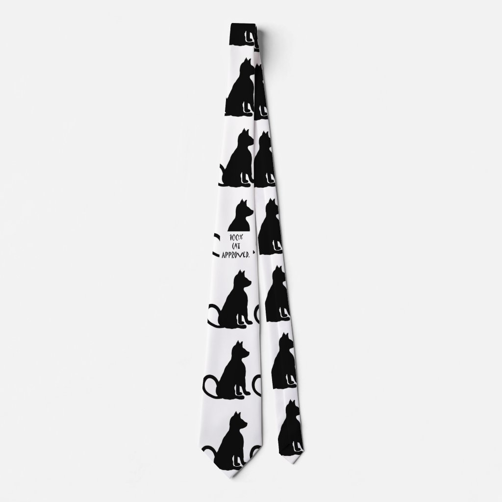 Cat Fashion Pop Art Black White Fun Tie
