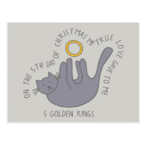 Cat Fifth Day 5 Golden Rings Christmas Postcard