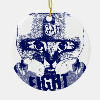 Cat Fight Ceramic Ornament