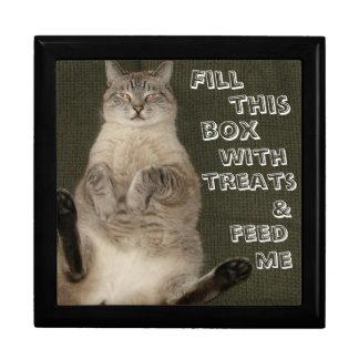 Cat FILL BOX WITH TREATS FEED ME Keepsake Box