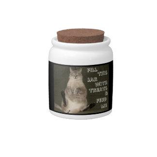 "Cat ""FILL JAR WITH TREATS & FEED ME"" Candy Jar"