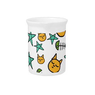 Cat, fish bone and stars pattern drink pitcher