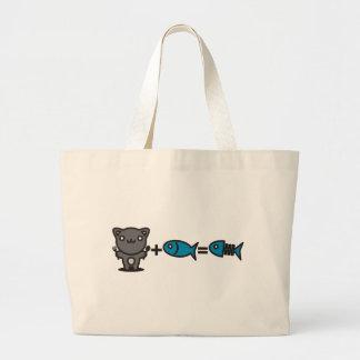 Cat + Fish = Bone Tote Bags