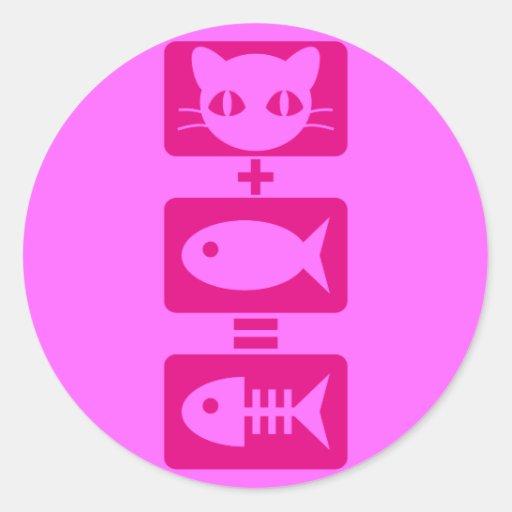 Cat + Fish = Bone Classic Round Sticker