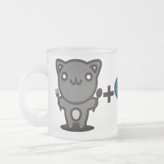 Cat + Fish = Bone Frosted Glass Coffee Mug